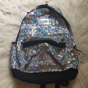 Pink Victoria's Secret iridescent sequin backpack